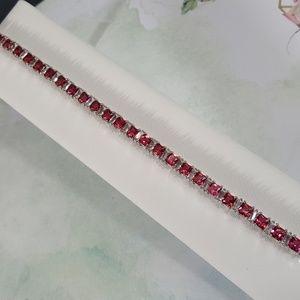 Ruby n White Cubic Zirconia Tennis Bracelet